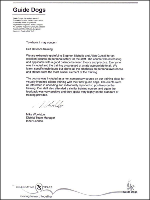 Great Recommendation Letter From Guide Dogs Of London ...